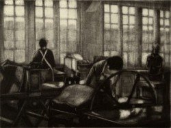 "Liz Chalfin, ""The Studio"", etching"