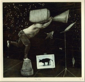 "Andrew Baldwin, ""The Artist"", etching"