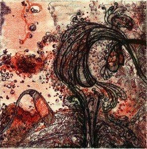Pam Crawford, transfer drawing/monoprint