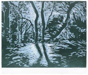 "Margaret Jean, ""Moonlight #13"", linoleum block print"