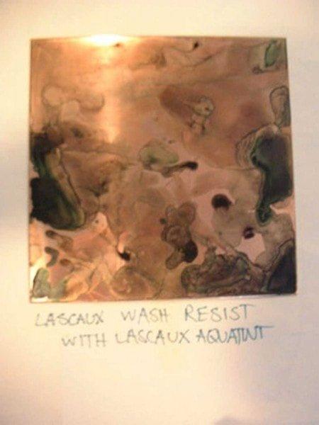 Madeleine's dried Lascaux wash resist