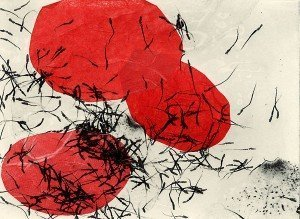 "Joan Wiener, ""Poppies"", photopolymer intaglio with chine colle"