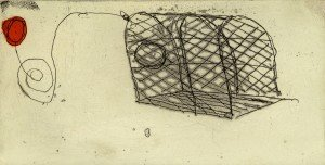 """Caroline and Michael Pattern, """"Lobster Pot"""", etching and collage, 2010"""