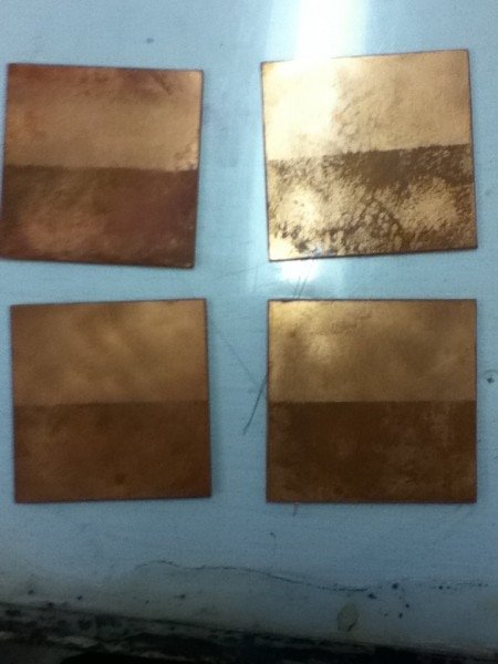 Inked plates after printing