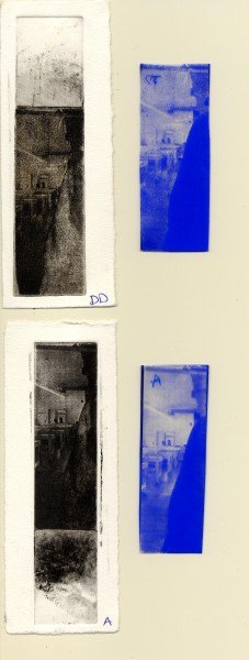 The printed images and their film positives. Top to bottom: diffusion dither, aquatint screen.