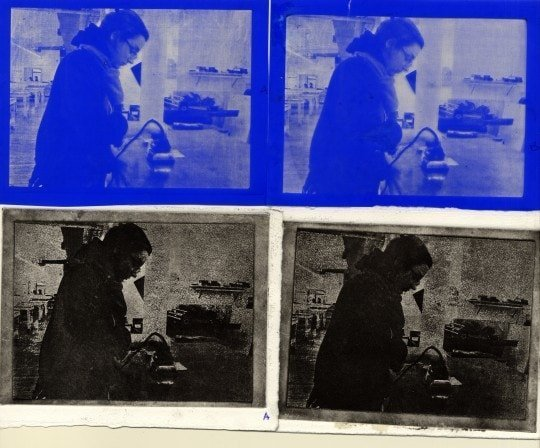 Transferred film and printed images. Left: no adjustments Right: color balance change