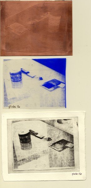 Top to bottom: Etched plate, Film positive left after transfer, Final printed image. Note the small scratches left in the image from the bone folder.