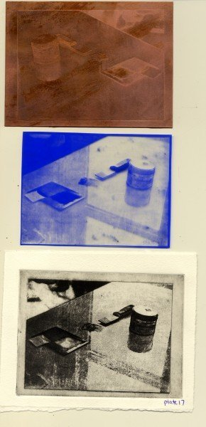 Top to bottom: Etched plate, Film positive left after transfer, Final printed image.