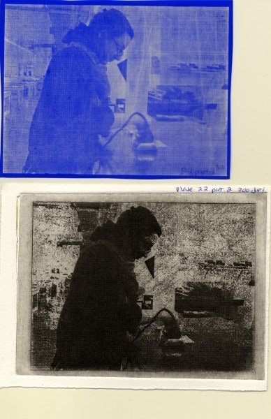 Plate 22D, 300 dpi. Top to bottom: film positive from transfer, printed image.