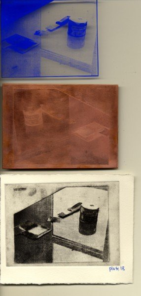 Top to bottom: Film positive left after transfer, Etched Plate, Final printed image.