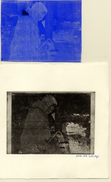 Plate 22B, 600 dpi. Top to Bottom: Positive from Film Transfer, Printed Image.