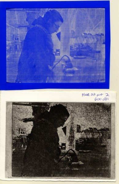 Plate 22C, 600 dpi. Top to bottom: film positive from transfer, printed image.