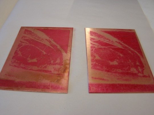 Plates 1 and 2 after ground has been baked on