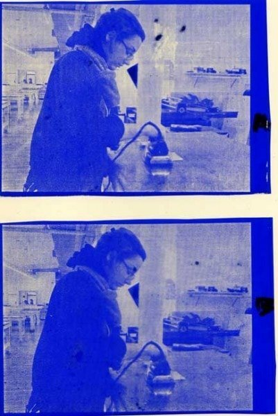 Film positives after ironing, A with 66% scaling (top) and B with 136% (bottom)