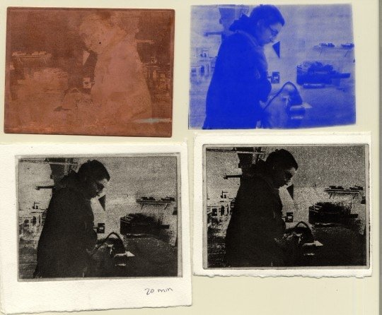 Clockwise from top left: etched plate from 30 minute etch, film positive, print from 30 minute etch, print from 20 minute etch.