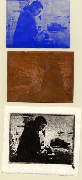 Top to bottom: film positive, etched plate, final printed image.