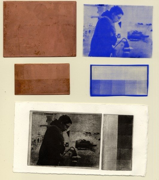 Top to bottom: Pairing of etched plate and film positive of image, pairing of etched plate and film positive of grayscale; final printed images.