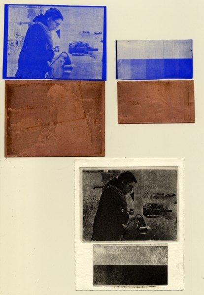 Clockwise from top left: Pairing of film positive and etched plate of image; pairing of film positive and etched plate of grayscale; final printed images