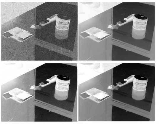 The completed Photoshop negatives. Each image has a different screen or pattern embedded. Clockwise, from top left: Reticulation, Original Image (no screen), Halftone, and Grain. Halftone was used for this test 4.