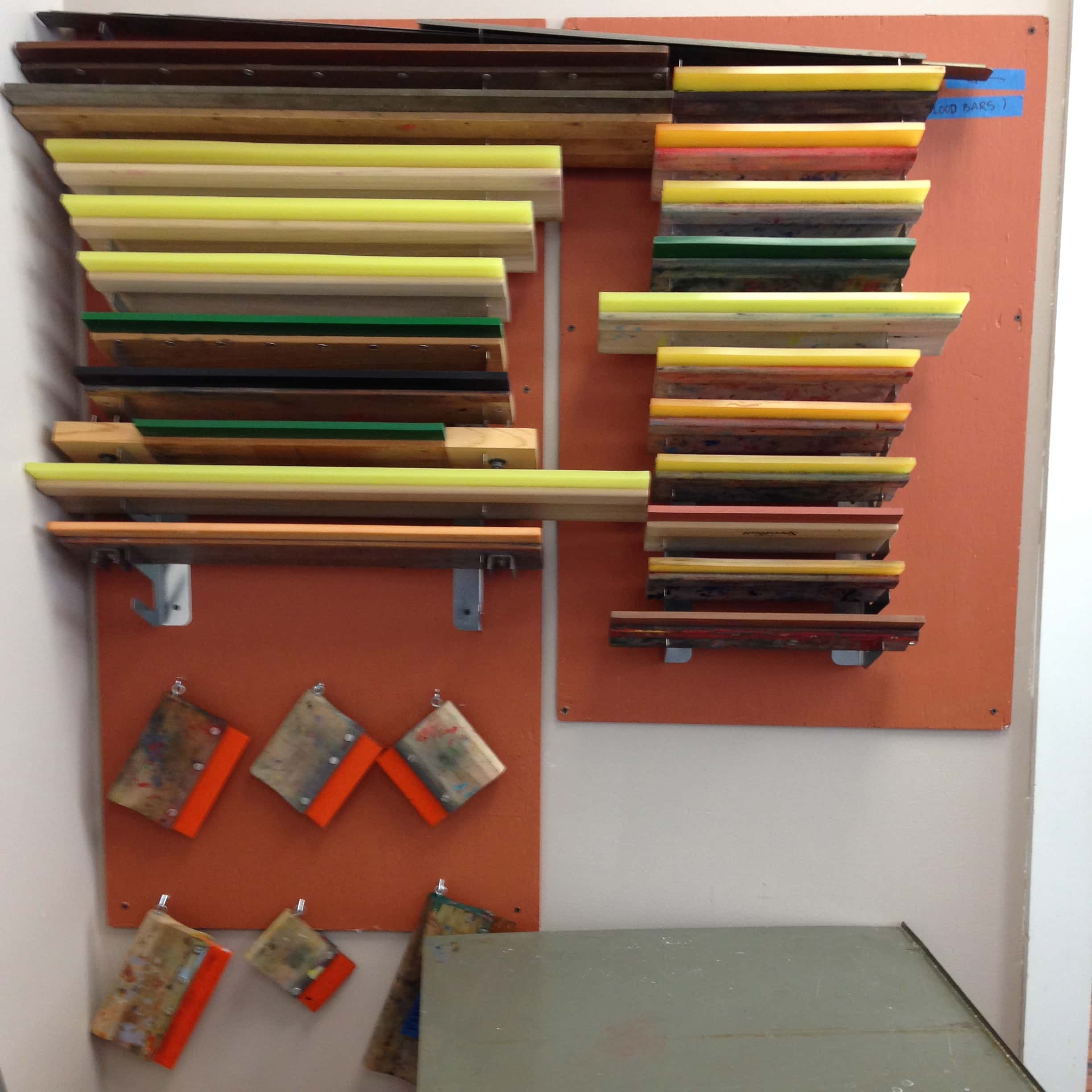 Screen Storage Racks : Squeegee rack zea mays printmaking