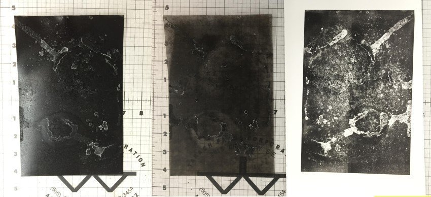 Test 3, plate B before printing (left), plate after being printed (center, print (right)
