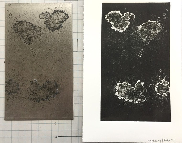 The plate after it was printed (left), the print (right)