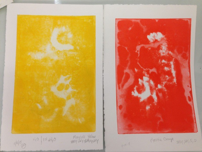 Left: Marylyde yellow printed, Right: Pyrrole Orange printed