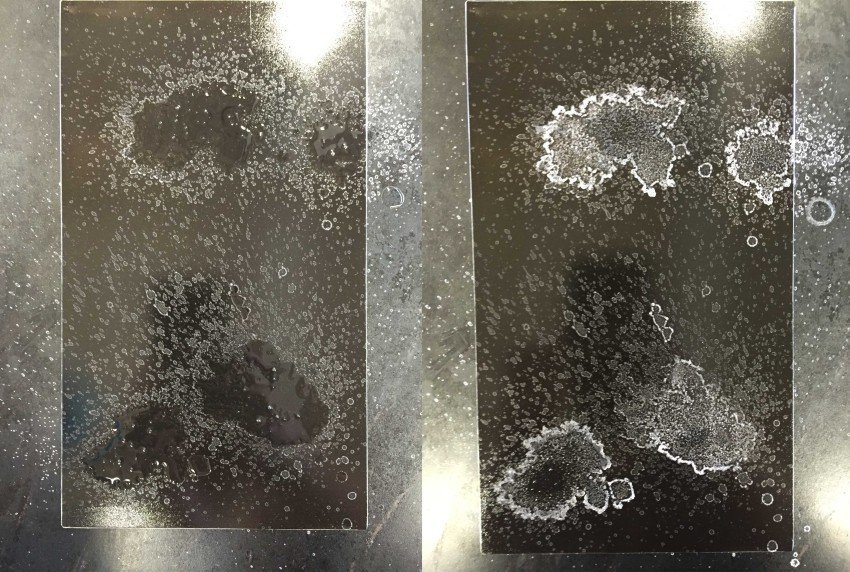the plate immediately after the salt water was sprayed (left), the plate after the water evaporated (right)