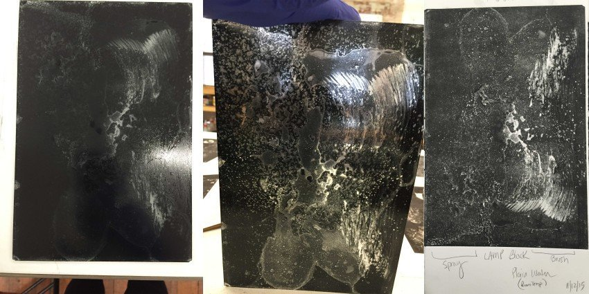 plate before printing (left, center), print (right)