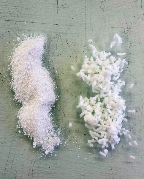Ivory Snow Flake Soap (Left) compared to shaved and crumbled Ivory Bar Soap (Right)