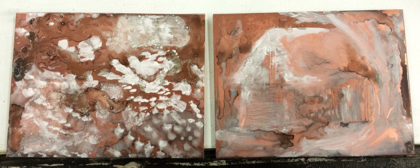 From left to right: Original Recipe Ground and Oil Paint Ground before etching.