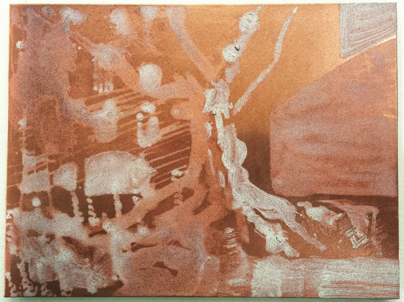 Plate with Soap Ground applied before Aquatint