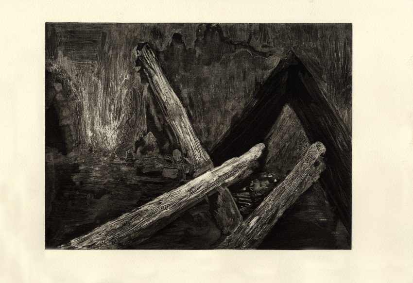 "Untitled, image size: 9"" x 12"", white ground, drypoint, and aquatint printed on Hanhemuhle Copper Plate Warm White."
